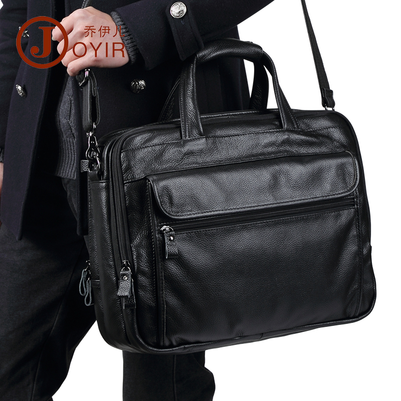 JOYIR Luxury Genuine Leather Men Briefcases Casual Business Handbag Portable Big Capacity Shoulder Messenger Bag 15
