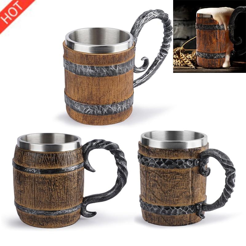New Retro Horn Skull Resin Beer Mug Stainless Steel 3D Beer Mug Game Tankard Coffee Cup Wine Glass Mugs Drinking Mug Wine Cup