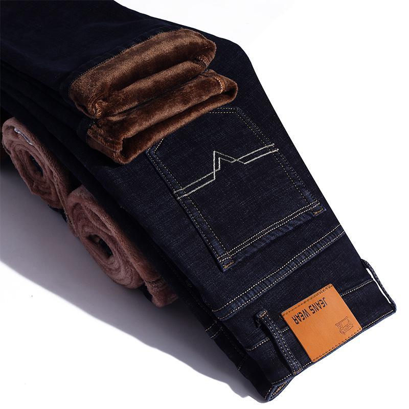 Зимние теплые фланелевые Стрейчевые джинсы для мужчин s, зимние качественные мужские флисовые штаны от известного бренда, прямые флокированные брюки, мужские джинсы - Цвет: Black