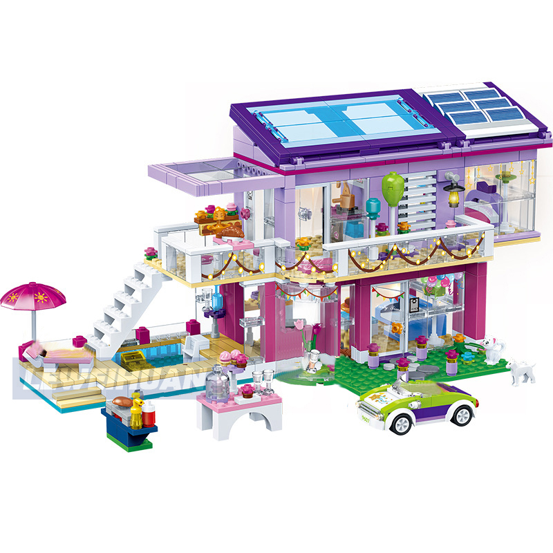 808pcs Girl Angela's Fashion Party Playground Model Building Blocks Compatible Legoes Friends Bricks Educational Toys For Girls