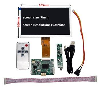 Pantalla LCD TFT de 7 pulgadas 1024*600 Monitor con placa de Control de controlador remoto HDMI para Lattepanda,Raspberry Pi Banana Pi