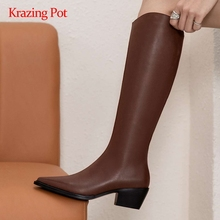 Equestrian Boots Krazing-Pot Pointed-Toe Knee Zipper Natural-Leather L42 Young-Girls