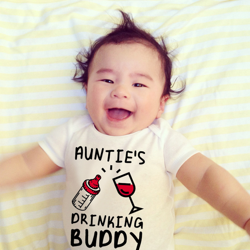 Auntie's Drinking Buddy Baby  Shirt Aunt Shower Gift Pregnancy Announcement Infant Newborn Clothes Outfit