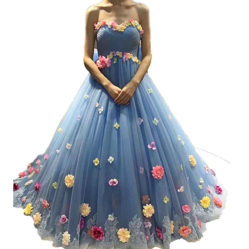 Off The Shoulder Blue Prom With Flowers Ball Gown Tulle Sweetheart Backless Sweet 16 Dress Party Gown Mother Of The Bride Dress