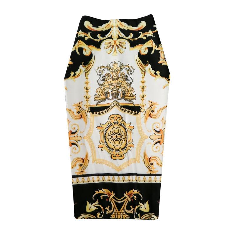 New-Coming European Women Summer Print Pencil Skirt High Stretch Abstract Pattern Midi Slip Hip Skirt Female GD030