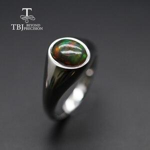 Image 2 - แหวนโอปอลธรรมชาติรูปไข่ 7*9 มม.แหวนพลอยหญิง Elegant เครื่องประดับ 925 เงินสเตอร์ลิง tbj โปรโมชั่น