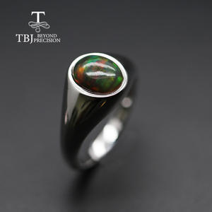 Image 2 - natural Opal Ring oval 7*9mm gemstone women Ring simple elegant fine jewelry 925 sterling silver  tbj promotion