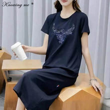 Women Summer sequines Dress Elegant Casual O Neck Cartoon Print Tees Dress Female Short Sleeve stright Dress Harajuku Vestidos