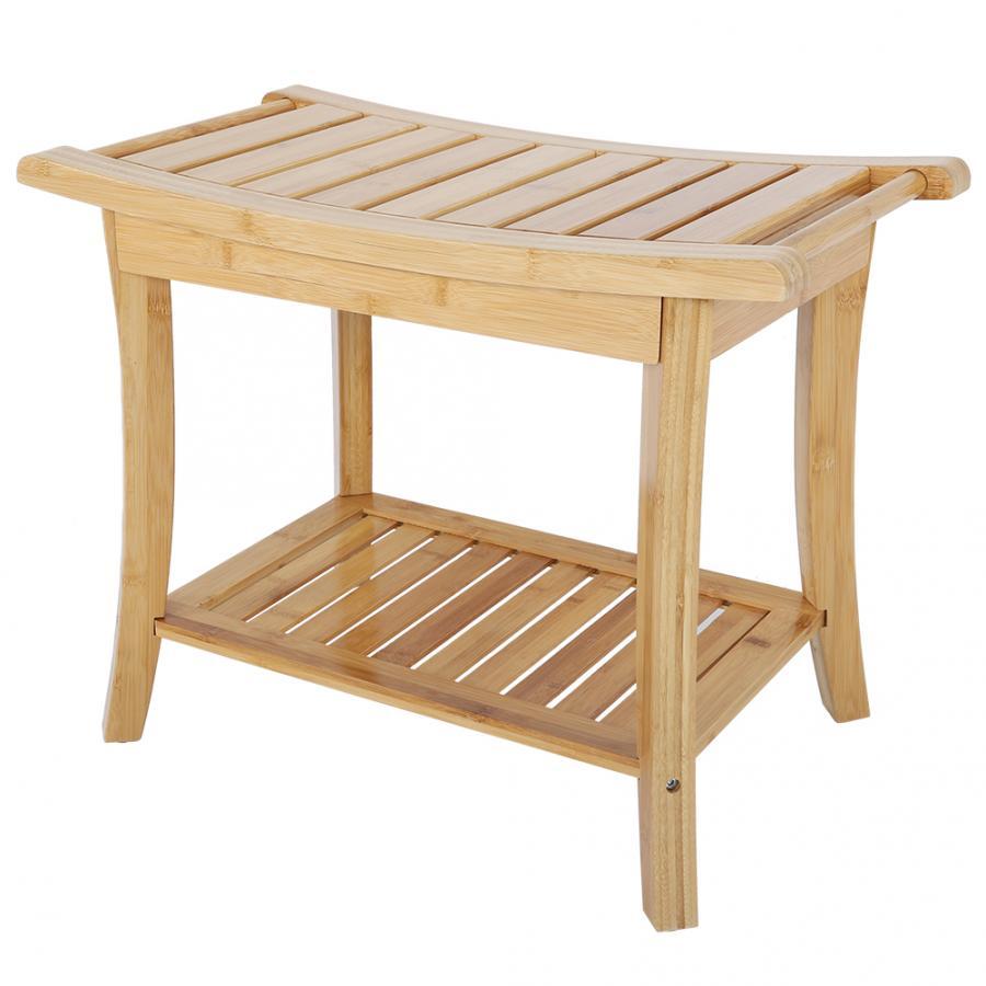Bathing Stool Natural Bamboo Anti-slip Shower Bathroom Spa Bath Organizer Stool W/ Storage Shelf