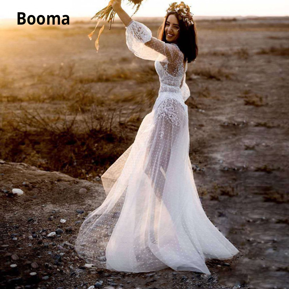 Booma Sexy See Thought Lace Wedding Dresses Bohemian Bridal Gowns Puffy Long Sleeve Dot Tulle Beach Wedding Gown Boho Plus Size