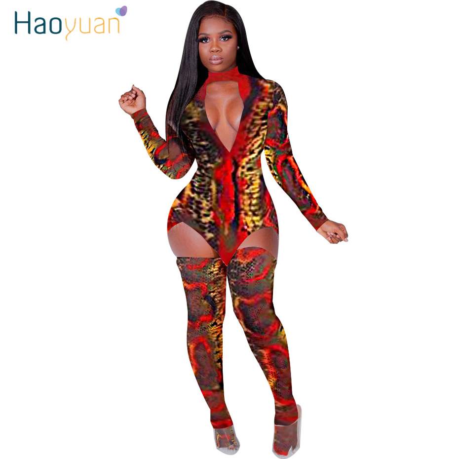 HAOYUAN Snake Print Two Piece Set Women Rave Festival Clothing Long Sleeve Mini Dress Stocking Matching Sets Sexy Club Outfits