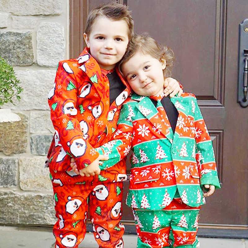 キッズベビーボーイクリスマスフォーマルスーツブレザージャケットパンツネクタイ紳士服マンダリンカラークリスマスフェスティバル子供のセット