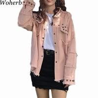 Woherb 2019 Autumn Harajuku Denim Jacket Women Vintage Tassel Rivet Coat Punk Jeans Jackets Asymmetry Outwear Streetwear 20375