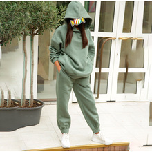 2021 NEW Hoodie 2 Pieces Set Women Autumn Solid Oversized Sweatshirt Set Casual Long Sleeve Fleece Tops Tracksuit Suit Outfits
