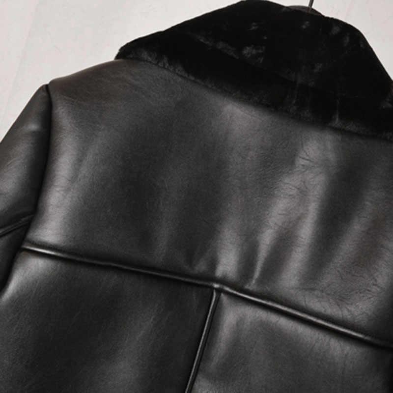 Invierno grueso cálido chaquetas forradas de piel para mujer y abrigos estilo europeo y americano automotriz piel de oveja abrigo señora ropa A299