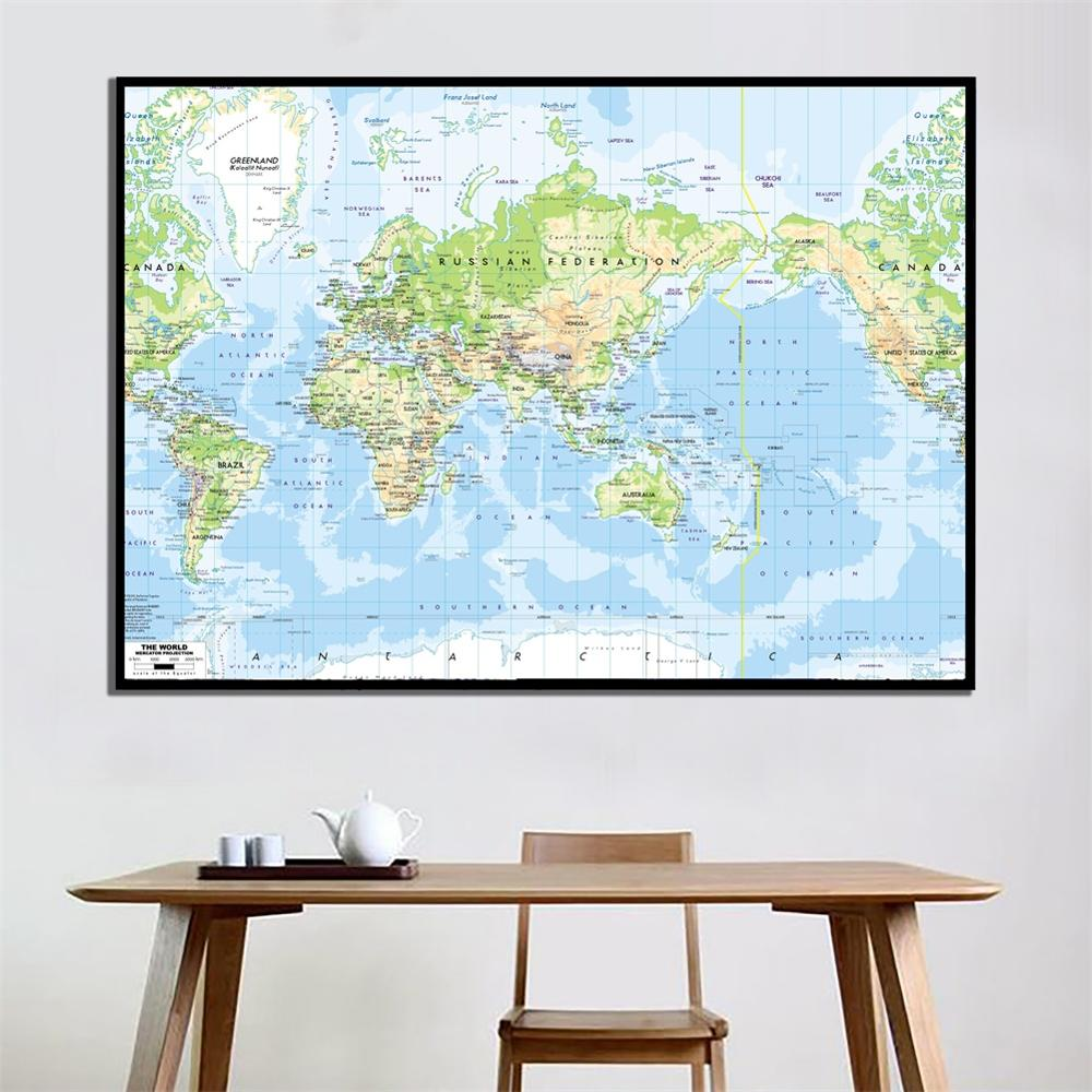 A2 Size The World Map Mercator Projection Vinyl Spray Printed Without Frame Fine Canvas Painting For Living Room Wall Decor