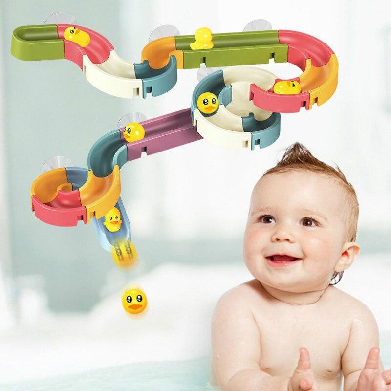 Jouets de bain pour enfants bricolage cascade intérieure à monter soi-même, pistes d'assemblage, canards jaunes, fente de voiture, salle de bain, douche de bébé, jeu d'eau