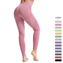 Fitness bezszwowe legginsy damskie wysokiej talii spodnie kontroli brzucha Dot wzór treningu Push Up spodnie Skinny fit Femme