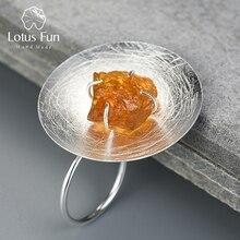 לוטוס כיף אמיתי 925 כסף סטרלינג טבעי חן מקורי בעבודת יד תכשיטים מתכווננת אישיות עגול טבעת לנשים