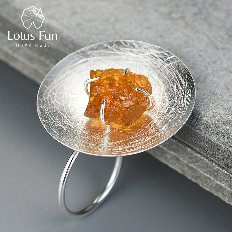 Lotus Fun Real 925 Sterling Silver Natural Gemstone Original Handmade Fine Jewelry Adjustable Personality Round Ring for Women