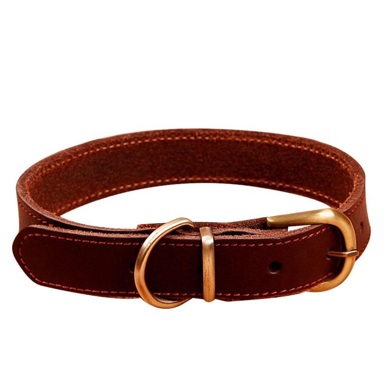 Pet Collar Dog Neck Ring Collar Golden Retriever Neck Ring Cowhide Genuine Leather Teddy Neck Ring Dogs Dog Dark Brown Dog Suppl