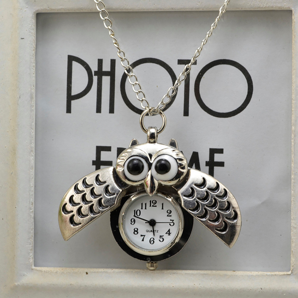 Hffe31aea8eb4414c8fcab7a8f3ac718bM - Pocket Watch Vintage Style Retro Slide Owl Pendant Long Necklace Analog Pocket Watch Gift Bundy Party Watch gift