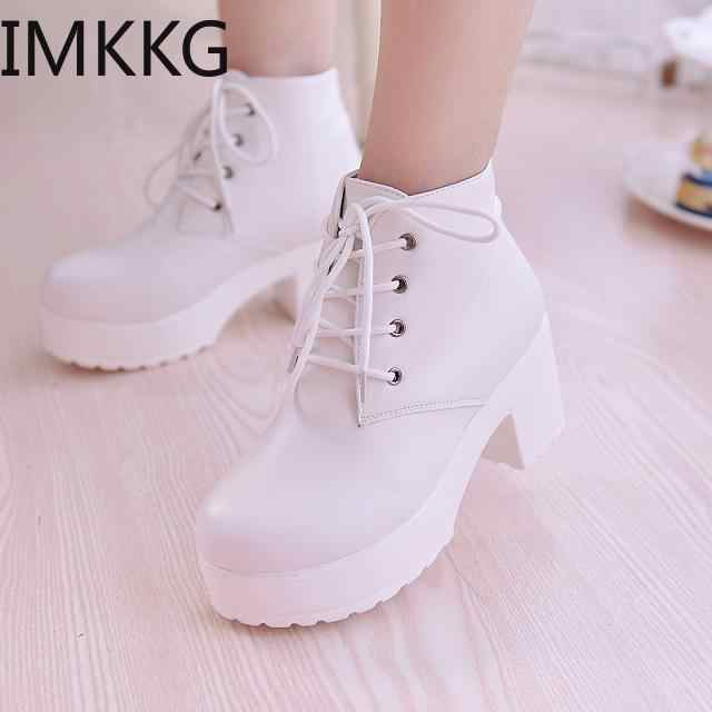 2019 kadın tek çizmeler yeni at çizmeler kare topuk yuvarlak ayak bahar yüksek topuk çizmeler Lace-Up artı boyutu 35-45