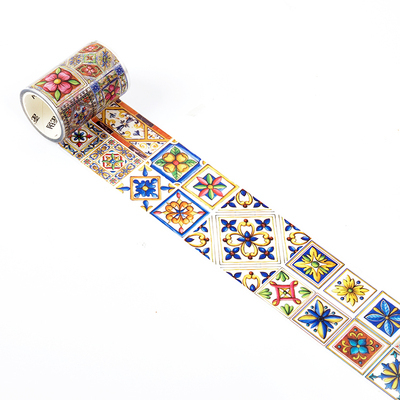 60mm Wide Retro Flower Tile Wall Printing Collage Decoration Washi Tape DIY Planner Diary Scrapbooking Masking Tape Escolar