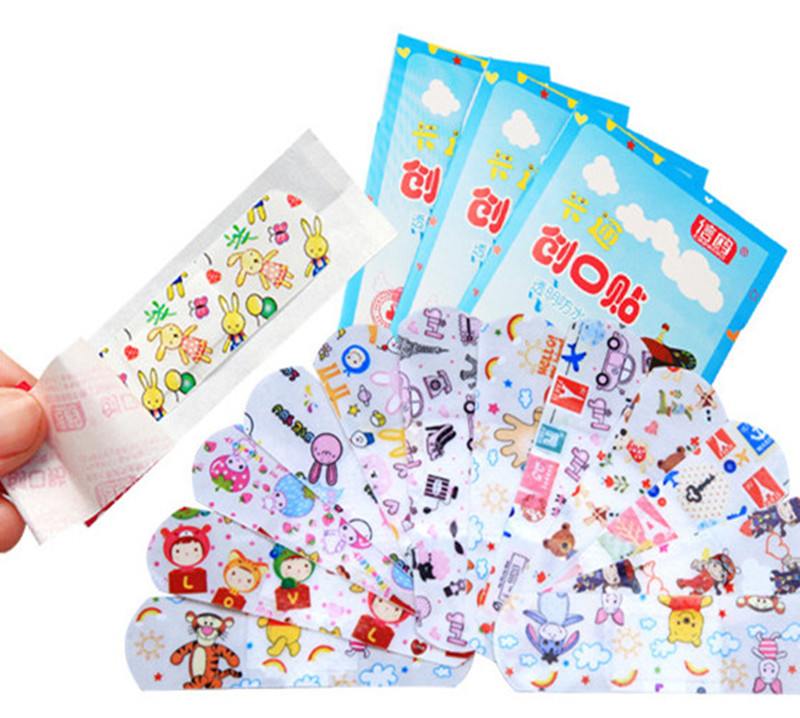 100PCs Band Aid Waterproof Breathable Cute Cartoon Band Aid Hemostasis First Aid Emergency Kit Adhesive Bandages image