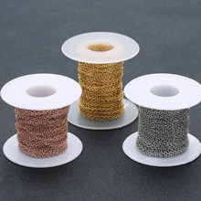 10 yardas/rollo 1/1, 5/2/2, 5/3mm color plata/oro rosa cadenas a granel de acero inoxidable para hombres y mujeres, materiales de fabricación de joyas DIY