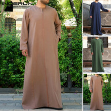 INCERUN Men Solid Color Jubba Thobe Muslim Islamic Kaftan Long Sleeve Robes V Neck Dubai Saudi Arabia Abaya Clothing 2019