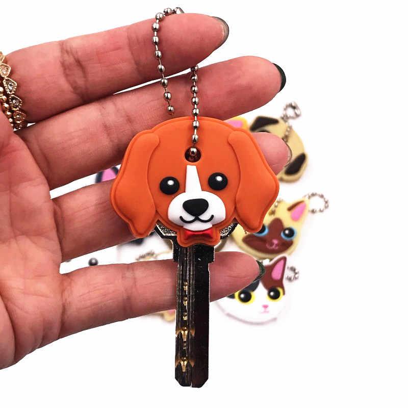 Atacado 40 pçs/lote Silicone Tampa Tampa Da Cabeça Do Anel Chave Keychain Caso Shell Gato Hamster Animais Forma Linda Jóia de Presente Do Cão Do Pug