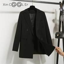 Chaqueta de doble botonadura con muescas para mujer, moda de alta calidad, otoño e invierno, estilo coreano holgado de estilo informal, color negro, abrigo de Ropa de Trabajo