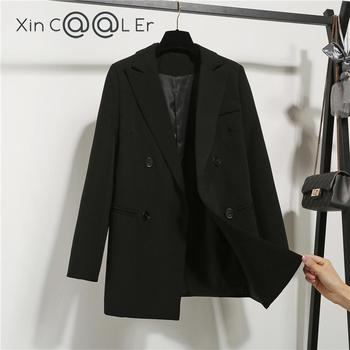 High Quality Fashion Autumn Winter Notched Double Breasted Jacket Korean Loose Casual Black Women Blazers Jackets Work Wear Coat