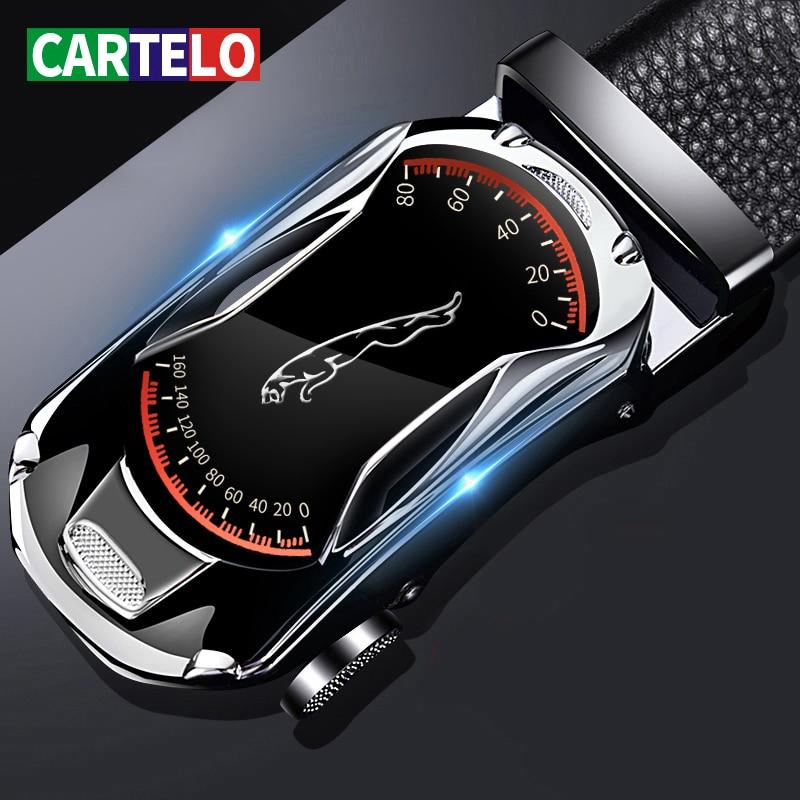 CARTELO Leather Belts for Men 3.5cm Width Sports car Brand Fashion Automatic Buckle Black