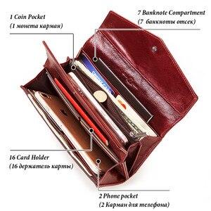 Image 4 - KAVIS cartera de cuero genuino de alta capacidad para mujer, monedero femenino, bolso de mano con abrazadera, tarjetero