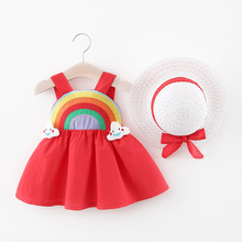 2020 Cute Summer Baby Girl Dress For Newborn Baby Girls Clothes Princess Dresses 1st Birthday Dress With Hat 0-2Y Vestidos cute short pink and white flower girl dresses peter pan collar knee length baby girls summer dress 1st birthday outfit with bow