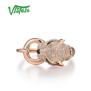 Image 2 - VISTOSOแหวนทองคำแท้ 14K 585 กุหลาบทองเสือดาวแหวนมรกตประกายเพชรครบรอบเครื่องประดับFine