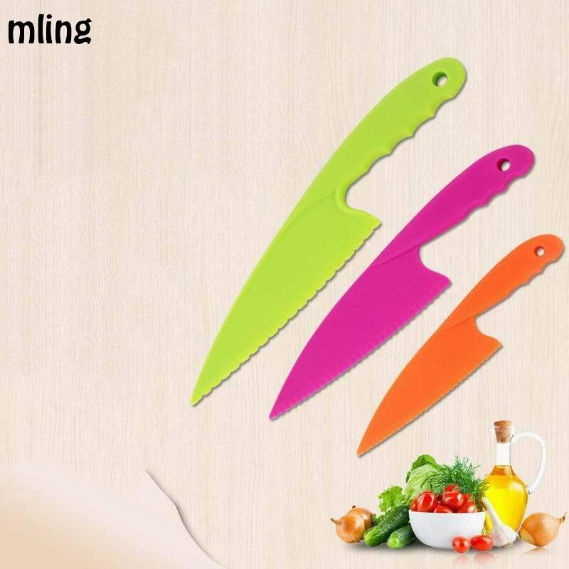 mling Kitchen Knife For Kids Safety Knife 3PC Lettuce Salad Knife Serrated Plastic Cutter Slicer Cake Bread Cook Children DIY