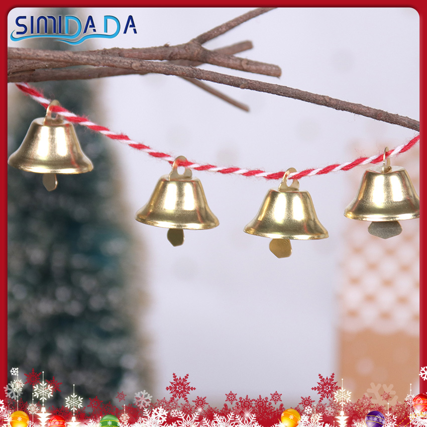10PCS Gold Christmas Bells 2.1cm Small Mini Bells Metal Pendant Wedding Christmas Decoration Accessories For Crafts