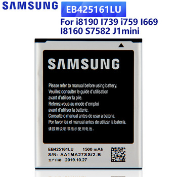 SAMSUNG Original Battery EB425161LU For Samsung S7560 S7562 S7566 S7568 S7572 S7580 I669 I739 i759 i8190 I8160 J1mini Ace 2 lychee grain style protective abs back case for samsung galaxy trend duos s7562 s7560 white