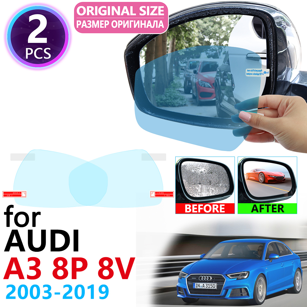 for Audi A3 8P 8V S-Line S3 2003~2019 Full Cover Rearview Mirror Rainproof Anti Fog Film Accessories 2005 2006 2010 2015 2018 image
