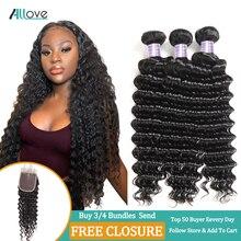 Allove малазийские глубокие волнистые волосы пряди натуральные кудрявые пучки волос не Реми волосы для наращивания купить 3/4 пряди