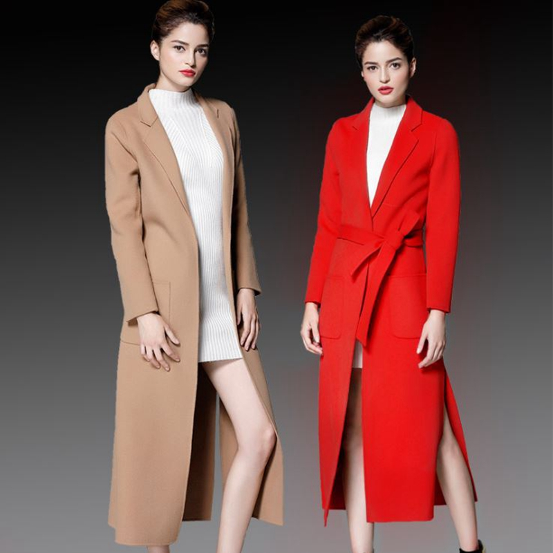 Handmade Female Overcoat wool Double Face Cashmere coat Winter Woolen New Jacket Long Ladies Outerwear Women Autumn Medium Coat