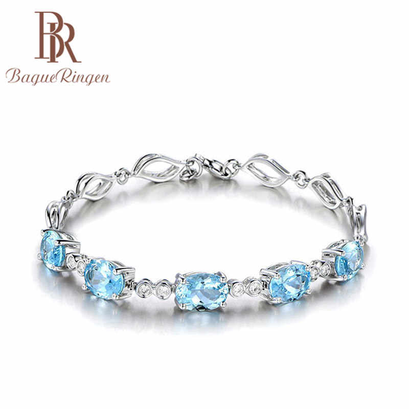Bague Ringen Luxury 925 Sterling Silver Aquamarine  Bracelet For Women Wedding Party Gemstone Bracelets Jewellery Accessories