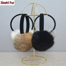 2021 New Style Winter Women Warm Soft Real Rabbit Fur Earmuffs Girl Rabbit Fur Plush Ear Muff 100% Real Natural Fur Earmuffs