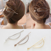 2019 Coroa Bride South Korean Hair Contracted Ellipse Hollow Out Leaves Hairpin Go Han Edition Fashion Metal Head Ornaments