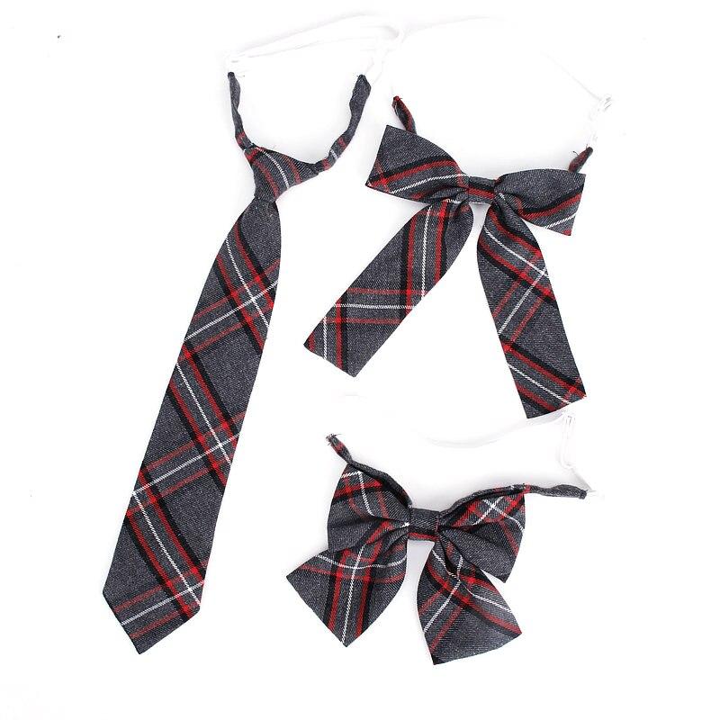 Boy's Girls Necktie Cotton Plaid JK Uniform Neck Tie Sets For Man Suits 6.5cm Plaid Ties Slim Rubber Tie Gravatas Ladies Ties