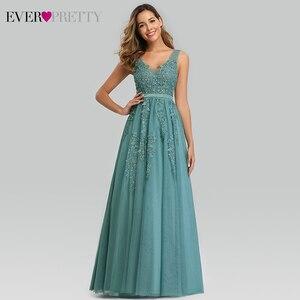 Image 4 - Elegant Prom Dresses Long Ever Pretty A Line Double V Neck Lace Appliques Formal Evening Party Gowns Vestidos Formatura Longo