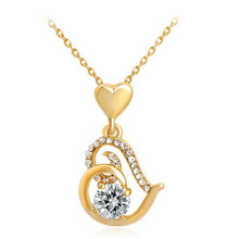 Popular Love Pendant Necklace Exquisite Zircon Alloy Women Ladies Crystals Heart Pendant Necklace for Valentine's Day Gift цена